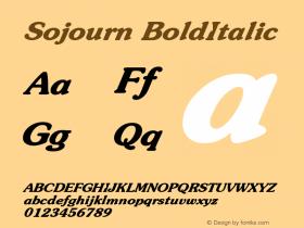 Sojourn BoldItalic Altsys Fontographer 4.1 12/22/94 Font Sample