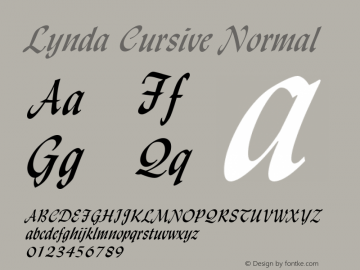 Lynda Cursive Normal Altsys Fontographer 4.1 1/8/95 Font Sample