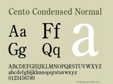 Cento Condensed Normal Altsys Fontographer 4.1 1/27/95 Font Sample