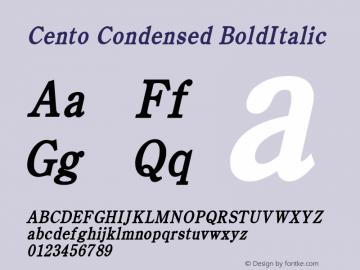 Cento Condensed BoldItalic Altsys Fontographer 4.1 1/27/95 Font Sample