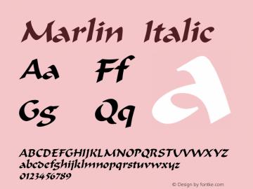 Marlin Italic Altsys Fontographer 4.1 12/22/94 Font Sample