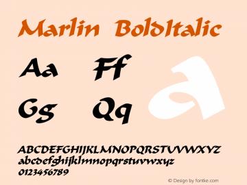 Marlin BoldItalic Altsys Fontographer 4.1 12/22/94 Font Sample