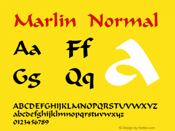 Marlin Normal Altsys Fontographer 4.1 5/9/96 Font Sample