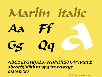 Marlin Italic Altsys Fontographer 4.1 5/9/96 Font Sample