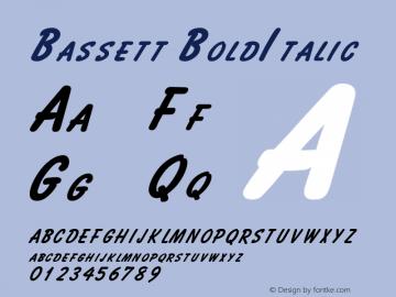 Bassett BoldItalic Altsys Fontographer 4.1 2/2/95 Font Sample