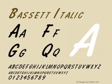 Bassett Italic Altsys Fontographer 4.1 2/2/95 Font Sample
