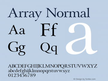 Array Normal Altsys Fontographer 4.1 1/31/95 Font Sample