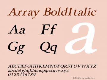 Array BoldItalic Altsys Fontographer 4.1 1/31/95 Font Sample