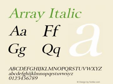 Array Italic Altsys Fontographer 4.1 5/28/96 Font Sample
