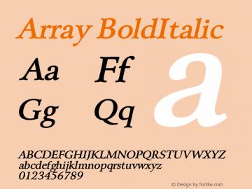Array BoldItalic Altsys Fontographer 4.1 5/28/96 Font Sample