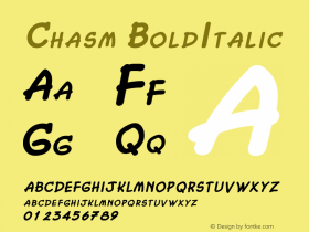 Chasm BoldItalic Altsys Fontographer 4.1 2/2/95 Font Sample