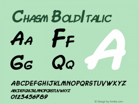 Chasm BoldItalic Altsys Fontographer 4.1 5/28/96 Font Sample
