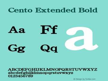 Cento Extended Bold Altsys Fontographer 4.1 1/27/95 Font Sample