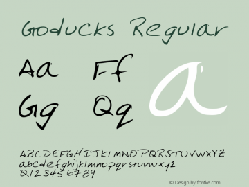 Goducks Regular Altsys Metamorphosis:3/3/95 Font Sample