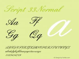 Script 33 Normal 1.0/1995: 2.0/2001 Font Sample