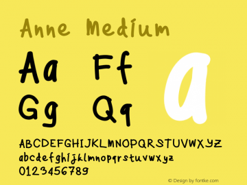Anne Medium Version 1.0 Font Sample