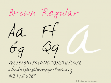 Brown Regular Altsys Metamorphosis:4/18/95 Font Sample