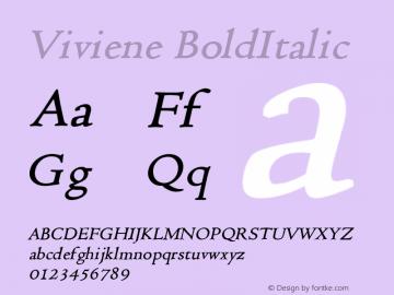 Viviene BoldItalic Altsys Fontographer 4.1 12/22/94 Font Sample