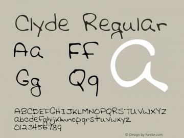 Clyde Regular Altsys Metamorphosis:3/2/95 Font Sample