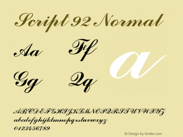 Script 92 Normal 1.0 Tue Oct 30 09:47:20 2001 Font Sample