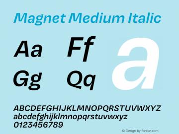 Magnet Medium Italic Version 1.001;PS 1.000;hotconv 16.6.51;makeotf.lib2.5.65220 Font Sample