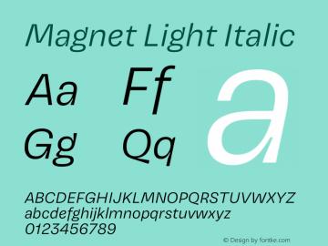 Magnet Light Italic Version 1.001;PS 1.000;hotconv 16.6.51;makeotf.lib2.5.65220 Font Sample
