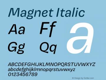 Magnet Italic Version 1.001;PS 1.000;hotconv 16.6.51;makeotf.lib2.5.65220 Font Sample