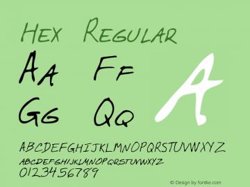 Hex Regular Altsys Metamorphosis:3/2/95 Font Sample