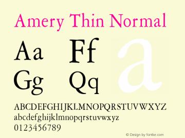 Amery Thin Normal Altsys Fontographer 4.1 1/30/95 Font Sample
