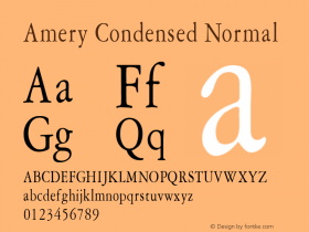 Amery Condensed Normal Altsys Fontographer 4.1 1/30/95 Font Sample