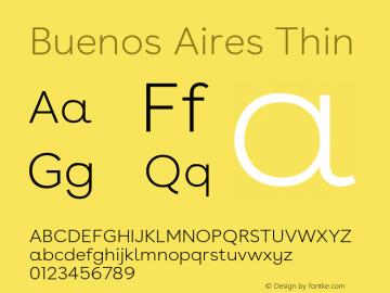 BuenosAires-Thin Version 24.000 Font Sample
