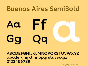 BuenosAires-SemiBold Version 24.000 Font Sample