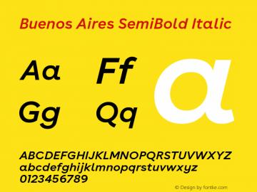 BuenosAires-SemiBoldItalic Version 24.000 Font Sample