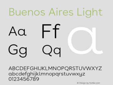 BuenosAires-Light Version 24.000 Font Sample
