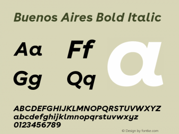 BuenosAires-BoldItalic Version 24.000 Font Sample