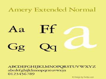 Amery Extended Normal Altsys Fontographer 4.1 2/2/95 Font Sample