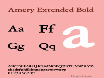 Amery Extended Bold Altsys Fontographer 4.1 2/2/95 Font Sample