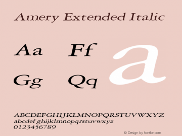 Amery Extended Italic Altsys Fontographer 4.1 2/2/95 Font Sample