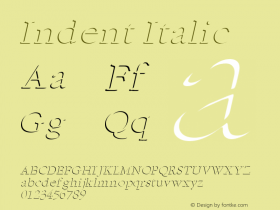Indent Italic Altsys Fontographer 4.1 1/5/95 Font Sample