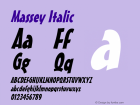 Massey Italic Macromedia Fontographer 4.1 6/28/96 Font Sample