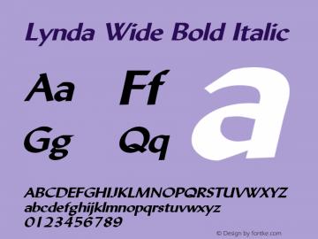 Lynda Wide Bold Italic 1.0 Wed Jul 28 13:08:01 1993 Font Sample