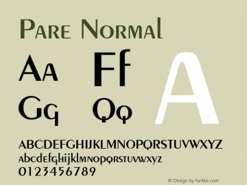 Pare Normal Altsys Fontographer 4.1 1/9/95 Font Sample