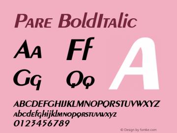 Pare BoldItalic Altsys Fontographer 4.1 1/9/95 Font Sample