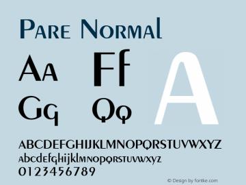 Pare Normal Altsys Fontographer 4.1 11/3/95 Font Sample
