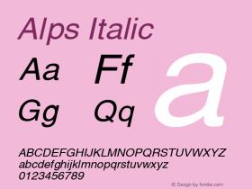 Alps Italic Altsys Fontographer 4.1 12/26/94 Font Sample