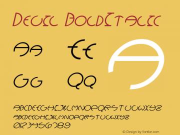 Devil BoldItalic Altsys Fontographer 4.1 12/28/94 Font Sample
