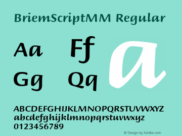 BriemScriptMM Regular Macromedia Fontographer 4.1 1/5/02 Font Sample