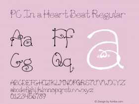 PC In a Heart Beat Regular Macromedia Fontographer 4.1 3/20/01 Font Sample