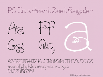 PC In a Heart Beat Regular Macromedia Fontographer 4.1 3/20/01 Font Sample