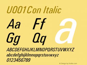 U001Con Italic Version 1.05 Font Sample